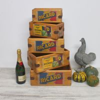 Ricard Box Wooden Crate Vintage French Advertising Sign